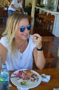 My friend Paula, trying to win the race: girl vs. food!