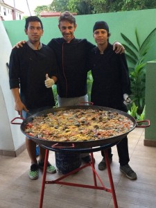 Paella Party!  Not your typical hostel food.