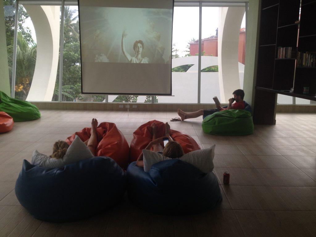 Movie room at Room2Board Hostel & Surf School